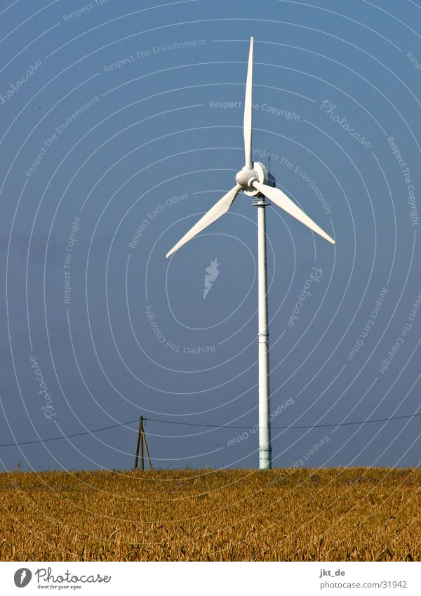 wind turbine solo 3 Summer Electricity Cornfield Industry Wind energy plant Energy industry Cable Sky