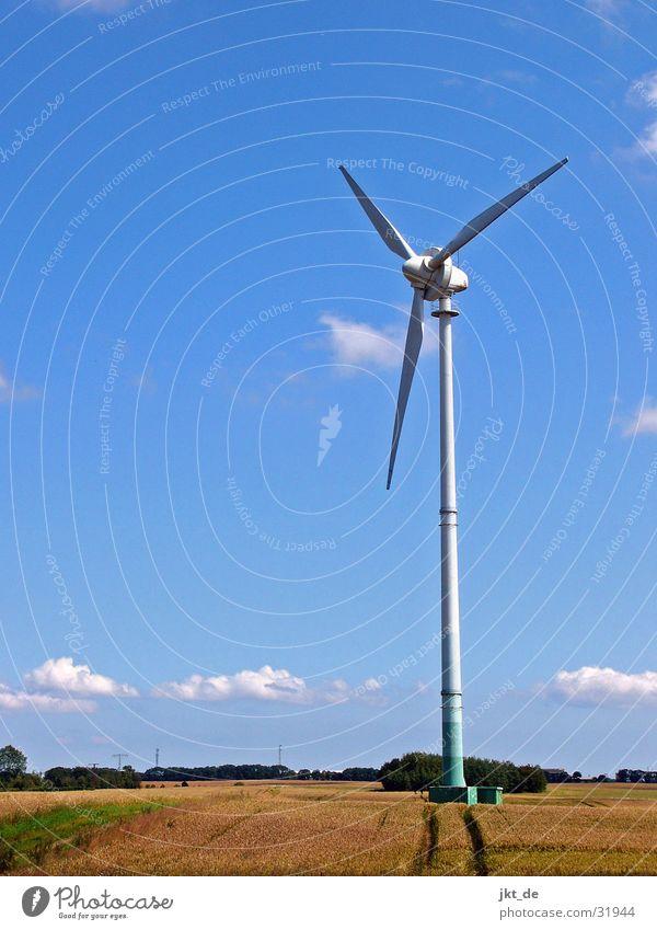 windmill in cornfield 1 Summer Cornfield Electricity Mecklenburg-Western Pomerania August Wind energy plant Renewable energy Sky Blue