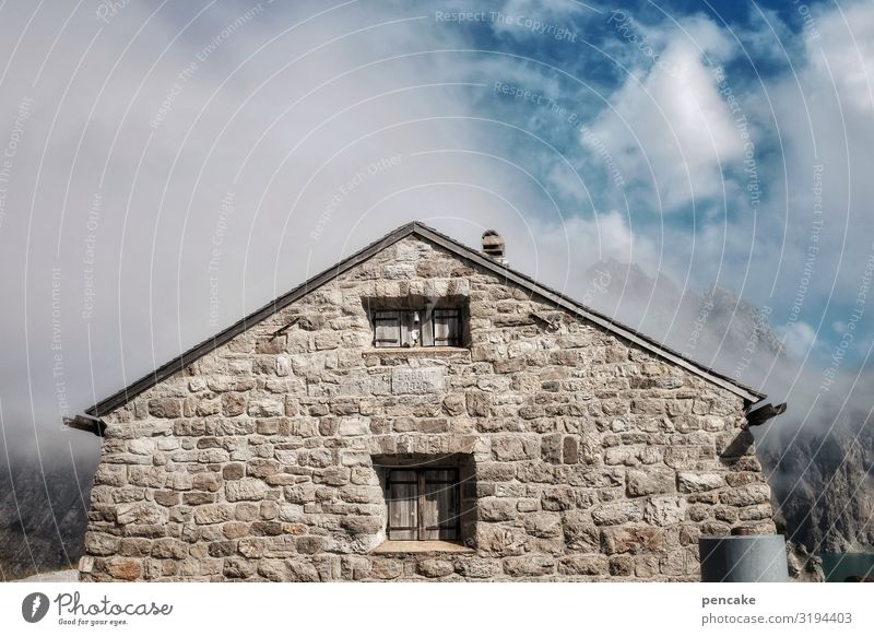 Weatherproof Nature Landscape Elements Sky Clouds Beautiful weather Alps House (Residential Structure) Hut Wall (barrier) Wall (building) Facade Window Stone