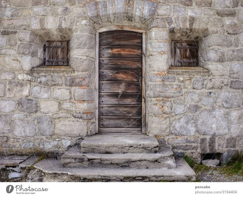 old | time travel stone house Old Alps Wooden door Window Closed stagger House (Residential Structure) Facade Wall (barrier) shutters Architecture built