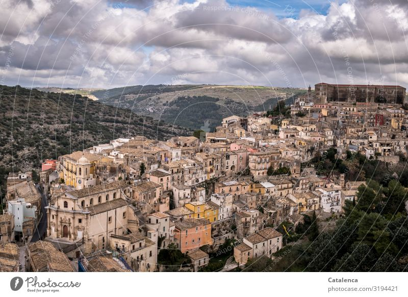 View of Ragusa Tourism Sightseeing City trip World heritage Landscape Sky Clouds Horizon ragusa Sicily Italy Europe Small Town House (Residential Structure)