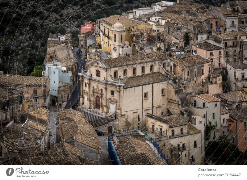 "View from above to a part of the city of Ragusa Bird's-eye view Quarter ragusa Sicily"" roofs DAC House (Residential Structure) Architecture Facade Window Old"