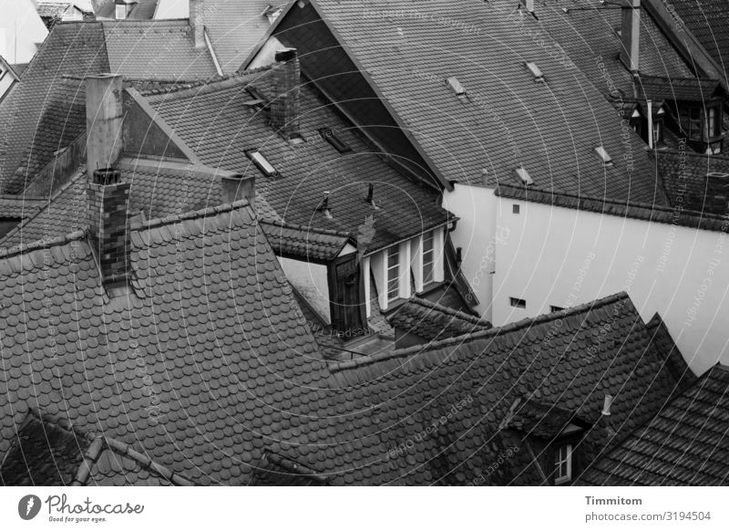 Above the roofs (2) Bamberg Old town House (Residential Structure) Wall (barrier) Wall (building) Window Roof Chimney Dark Simple Gray Black White Narrow Homey