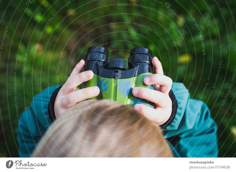 Boy looks through binoculars Lifestyle Leisure and hobbies Playing Vacation & Travel Tourism Trip Adventure Far-off places Freedom Hiking Garden Parenting
