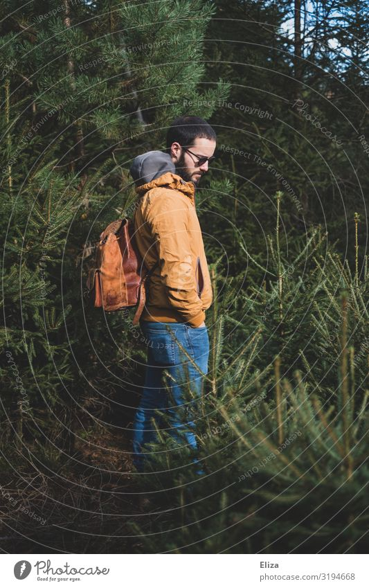 Man with backpack alone isolated in the forest in the fresh air Trip Adventure Hiking segregated Forest Human being Masculine Young man Youth (Young adults)