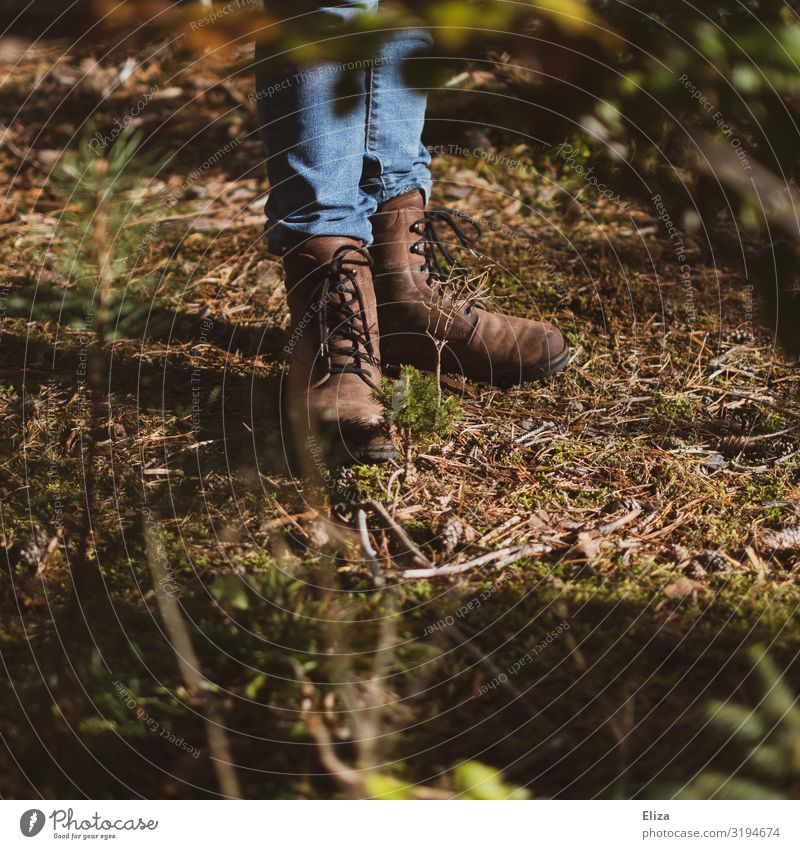 Shoes Human being Feet 1 Stand Spring fever Power Attentive Calm Life Forest Boots Hiking boots Nature Meadow Undergrowth Unwavering Love of nature Colour photo