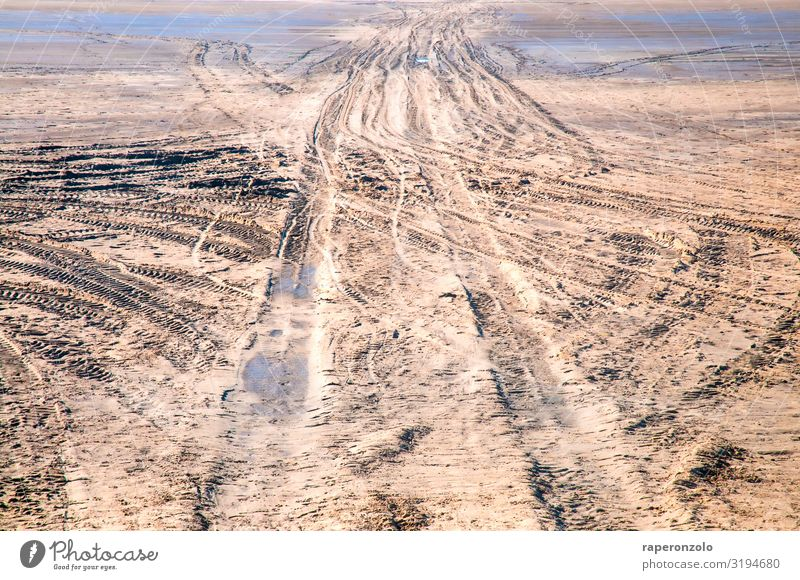 One way or another Environment Sand Climate Beach Desert Deserted Driving Brown Irritation Lanes & trails Destruction ensue Scrabble about Tracks Traffic lane