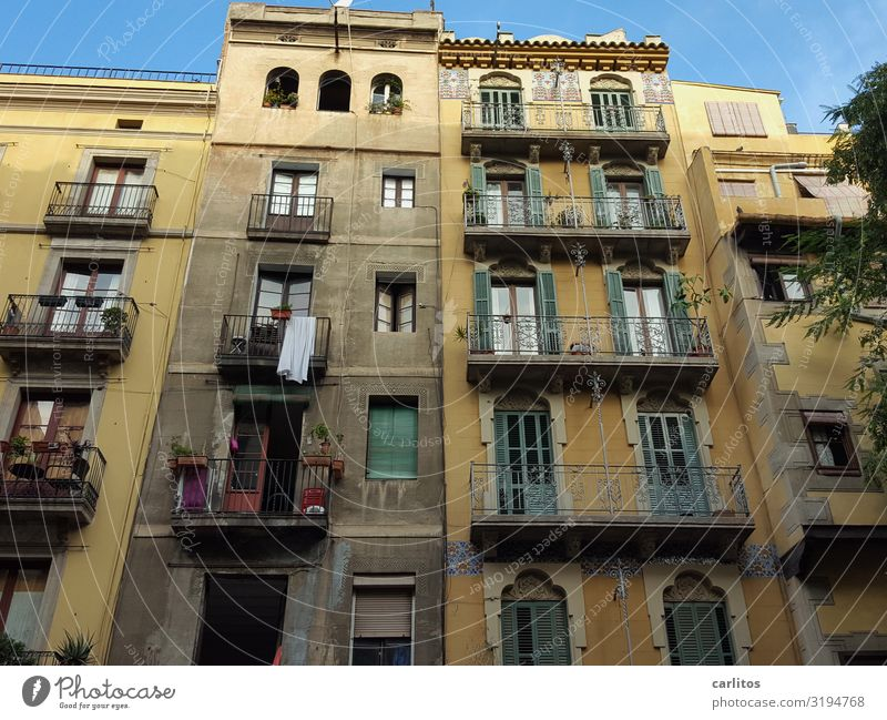 Barcelona | Old Town 2 Spain Old town Tourism Vacation & Travel Travel photography Restoration Past City life Facade Balcony Worm's-eye view