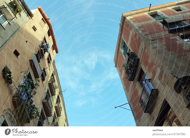 Barcelona | Old Town 1 Spain Old town Tourism Vacation & Travel Travel photography Restoration Past City life Facade Balcony Worm's-eye view