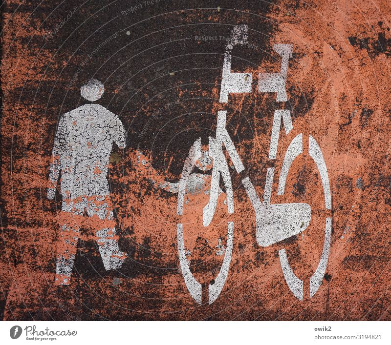 traffic check Transport Means of transport Vehicle Bicycle Pictogram Sign Signs and labeling Signage Warning sign Old Simple Under Town Cycle path scrubbed off