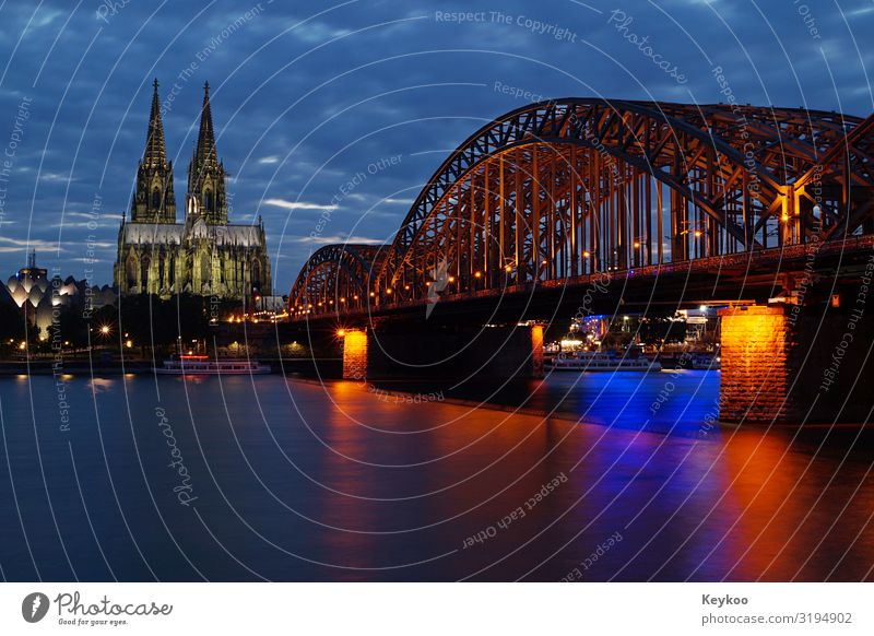 Cologne Cathedral and Rhine Bridge Tourism Trip Sightseeing Town Downtown Skyline Dome Tourist Attraction Landmark Horizon cathedral bridge Colour photo