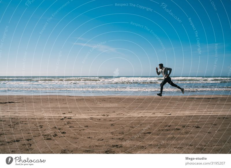 Portrait of an athletic man running. Lifestyle Personal hygiene Body Relaxation Leisure and hobbies Beach Sports Jogging Human being Man Adults Fitness To enjoy