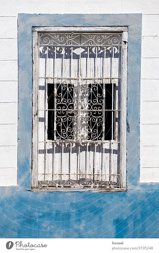 white window on blue wall , santiago de cuba - cuba Lifestyle Style Vacation & Travel Tourism Trip Island House (Residential Structure) Decoration Art Town