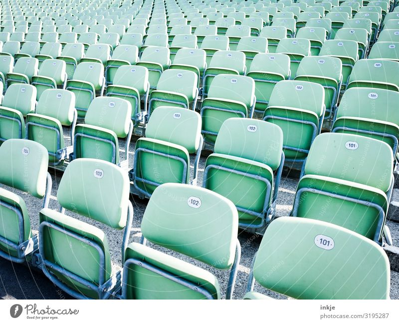 rows of seats Event Open-air theater Digits and numbers Row of seats Folding chair Seating Authentic Simple Mint green Colour photo Exterior shot Close-up
