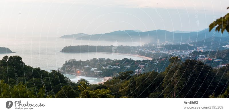 Evening on Phuket Environment Nature Landscape Plant Water Sky Clouds Summer Beautiful weather Fog Virgin forest Coast Bay Ocean Andaman Sea Island Town