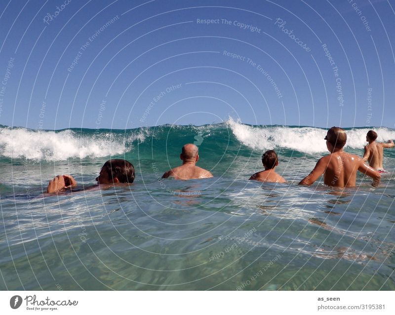 Waiting for the wave Swimming & Bathing Vacation & Travel Summer Summer vacation Sun Ocean Waves Human being Body 5 Group Environment Nature Water