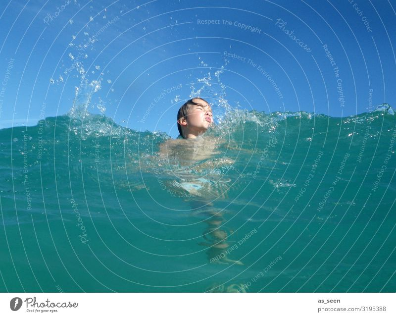 Fun in the sea Boy (child) Infancy Face 1 Human being Environment Nature Landscape Elements Air Water Sky Sun Summer Beautiful weather Waves North Sea