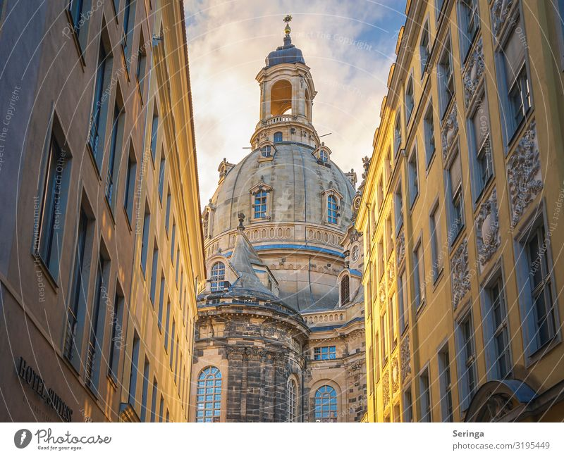 View through the alley to the Frauenkirche in Dresden Architecture Downtown Old town Church Dome Tower Manmade structures Building Wall (barrier)