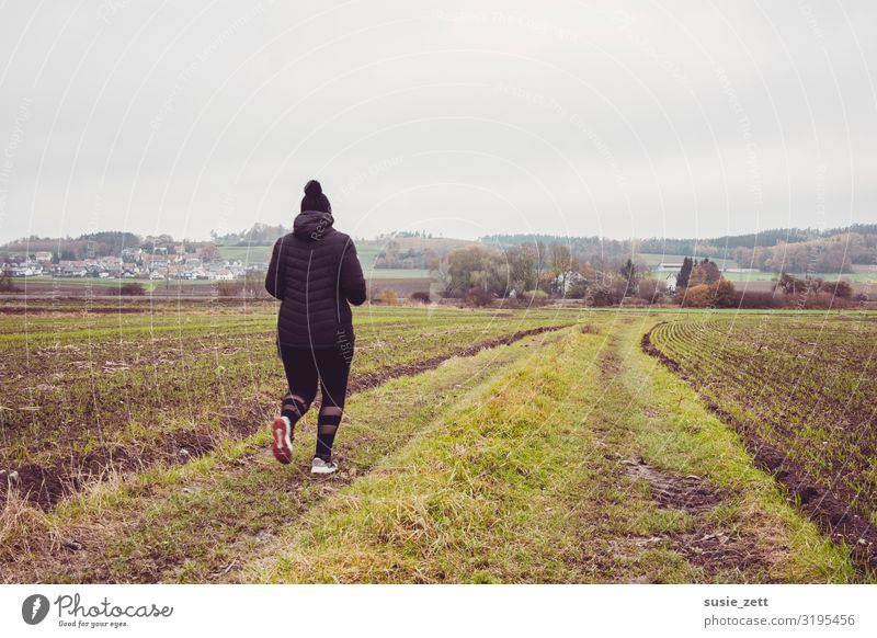 Curvy woman jogging along a country lane Healthy Fitness Leisure and hobbies Far-off places Sports Sports Training Jogging Feminine Young woman