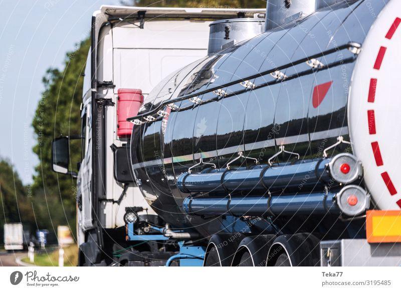 Petrol transport Transport Means of transport Traffic infrastructure Street Highway Truck Esthetic Gasoline gasoline transport Oil tanker Colour photo
