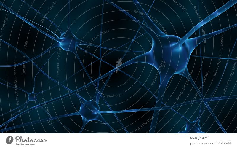Nerve cells (3D render) Healthy Health care Neurology Science & Research Brain and nervous system Blue Black Communicate Complex Network Surrealism