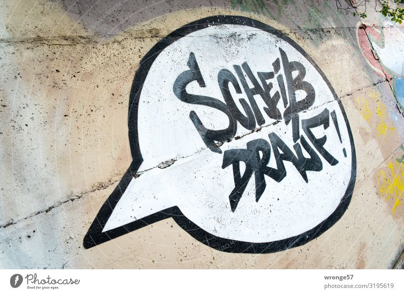 Town White Black Graffiti Wall (building) Emotions Wall (barrier) Brown Characters Power Brave Opinion Aggression Speech bubble Crap Freedom of expression
