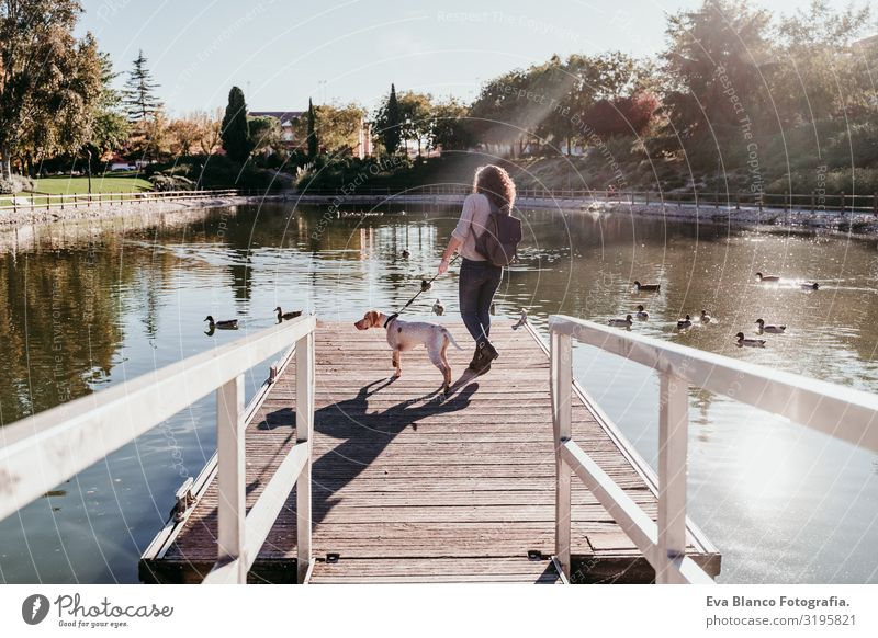 young woman and her dog outdoors in a park with a lake. sunny day, autumn season Woman Dog Park Youth (Young adults) Exterior shot Love Pet owner Sunbeam