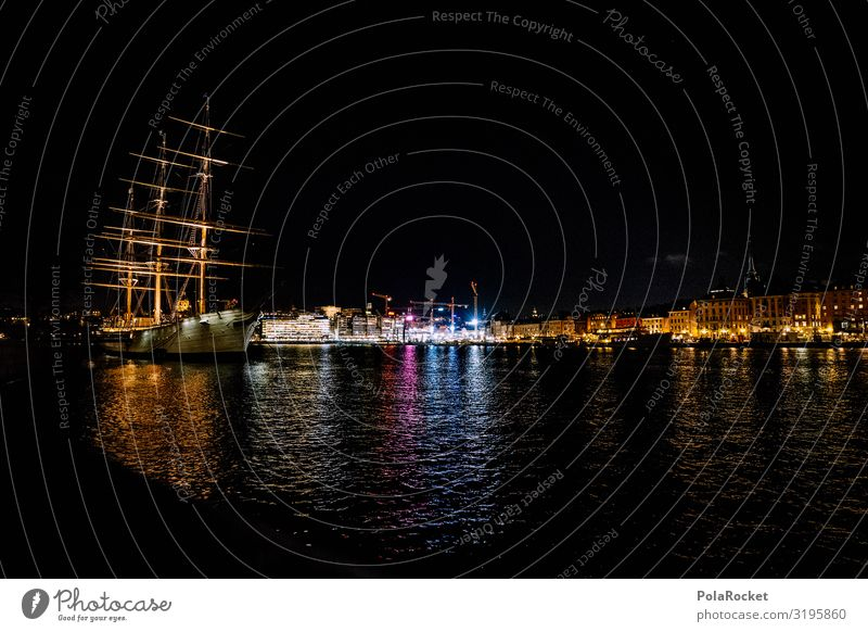 #S# Port romance Town Port City Exceptional Stockholm Harbour Watercraft Sailing ship Night Sweden Skyline Old town Gamla Stan Light Flair Beautiful Night shot