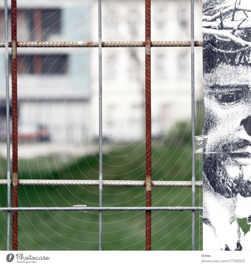 Stories of the fence (LVI) Masculine Man Adults 1 Human being Art Painting and drawing (object) Drawing House (Residential Structure) Fence Hoarding Stone Metal