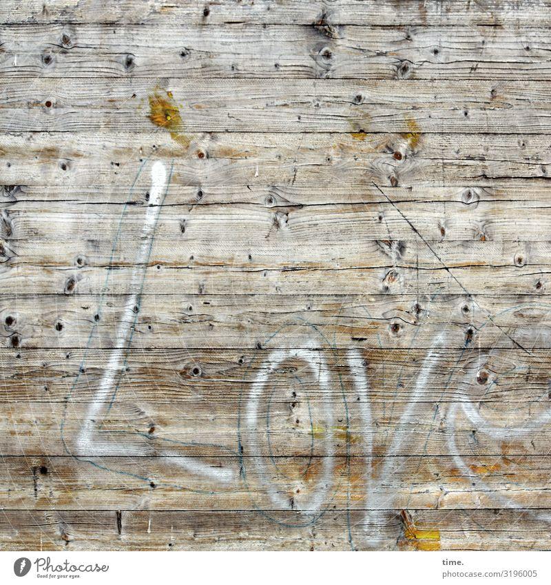 Wood Lover*in | Written Construction site Wall (barrier) Wall (building) Fence Hoarding Wood grain wood Characters Line Stripe Broken Trashy Town Emotions