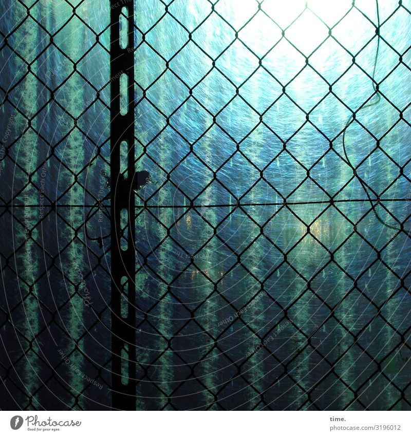 Stories of the fence (LIV) Construction site Craft (trade) Fence Hoarding Wire netting Wire netting fence light panel corrugated sheet Metal Plastic Line Stripe