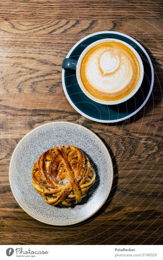 #S# FIKA To have a coffee Esthetic Coffee Coffee cup Cinnamon Heart To enjoy Wooden table Baked goods Perfect Milk Cappuccino Snail fika Sweden Morning