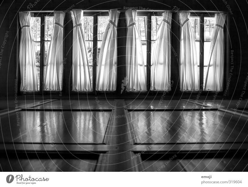 self-conscious House (Residential Structure) Manmade structures Building Window Window frame Curtain Old Threat Dark Black & white photo Interior shot Deserted