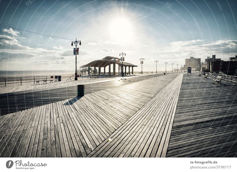 Coney Island Boardwalk Horizon Beautiful weather Coast Beach New York City USA Town Outskirts Skyline Deserted House (Residential Structure) Manmade structures