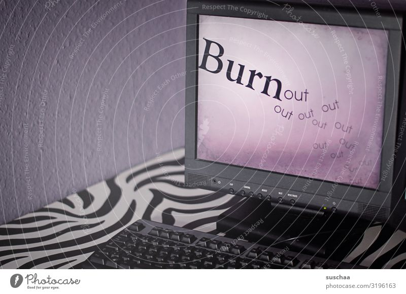 burn..out Computer Screen Workplace Desk Keyboard Sadness Exhaustion pathogenic performance working conditions Overtime hour Labor time Illness Cure