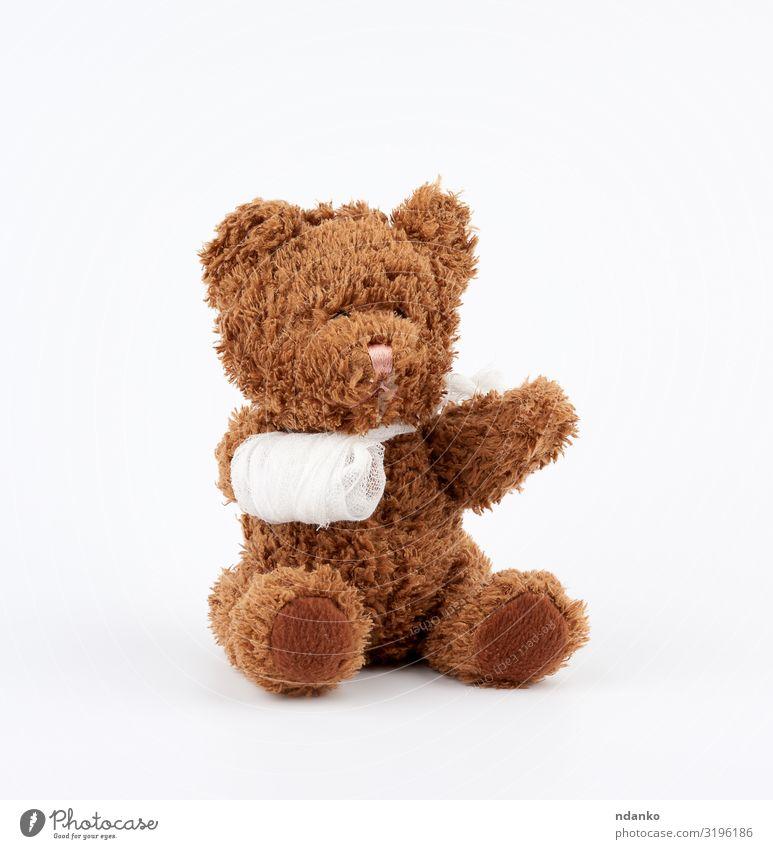 brown teddy bear Joy Medical treatment Illness Medication Child Hospital Infancy Arm Band Animal Paw Toys Doll Teddy bear Sit Small Funny Cute Soft Brown White