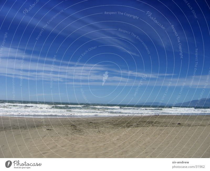 Ocean Beach Clouds Waves Coast USA Blue sky California Pacific Ocean North America San Francisco