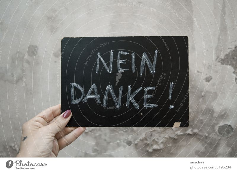 Woman Human being Hand Wall (barrier) Fingers Letters (alphabet) To hold on Stop Derelict Word Blackboard Text Plaster Chalk Thank you very much Hold