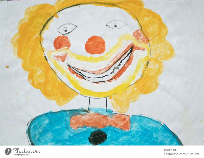 creep clown Painting and drawing (object) Drawing Children's drawing Figure Clown Hideous Creepy Naivety Beautiful Art Watercolor Multicoloured Face