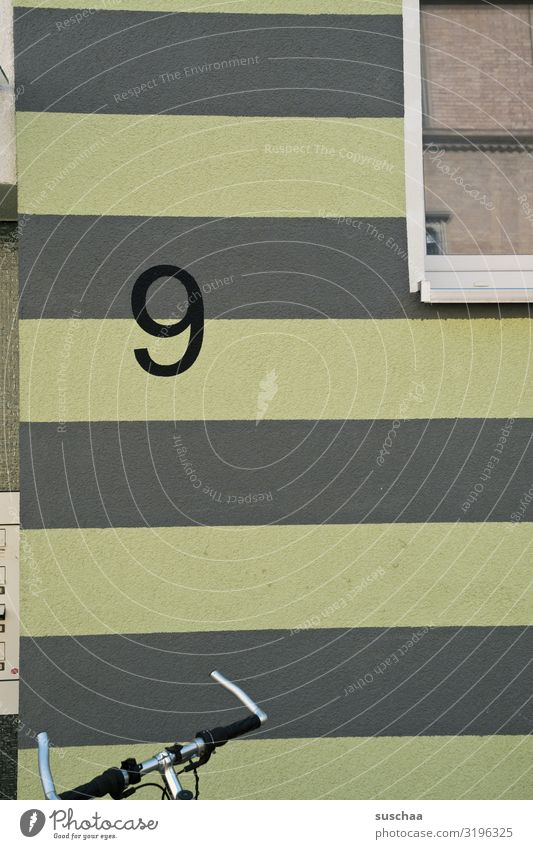 no. 9 Digits and numbers Number nine. House (Residential Structure) Wall (building) Building Facade Window Bicycle Bicycle handlebars Detail Striped