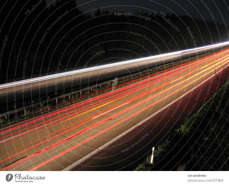 Motorway A27 II Highway Night Light streak Rear light Long exposure Tracks