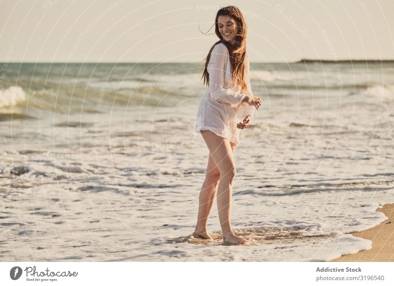 Woman with white dress at the beach Summer Beautiful Lifestyle Relaxation Beauty Photography Happy Girl Healthy Adults Dawn Wellness Dress Joy Beach Sunset