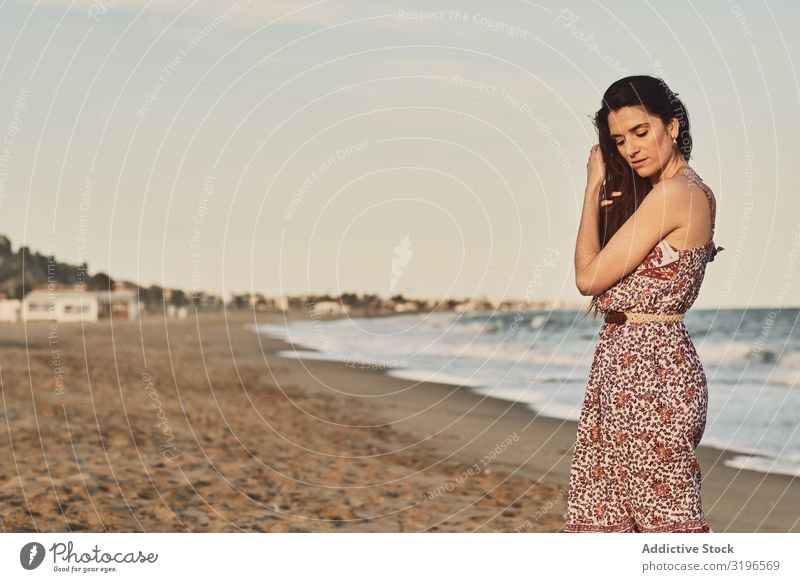 Woman with dress at the beach Summer Beautiful Lifestyle Relaxation Beauty Photography Happy Girl Healthy Adults Dawn Wellness Dress Joy Beach Sunset