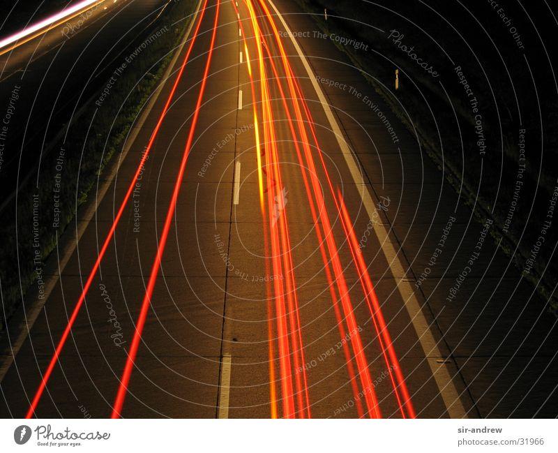 Motorway A27 Highway Night Light streak Rear light Long exposure Tracks