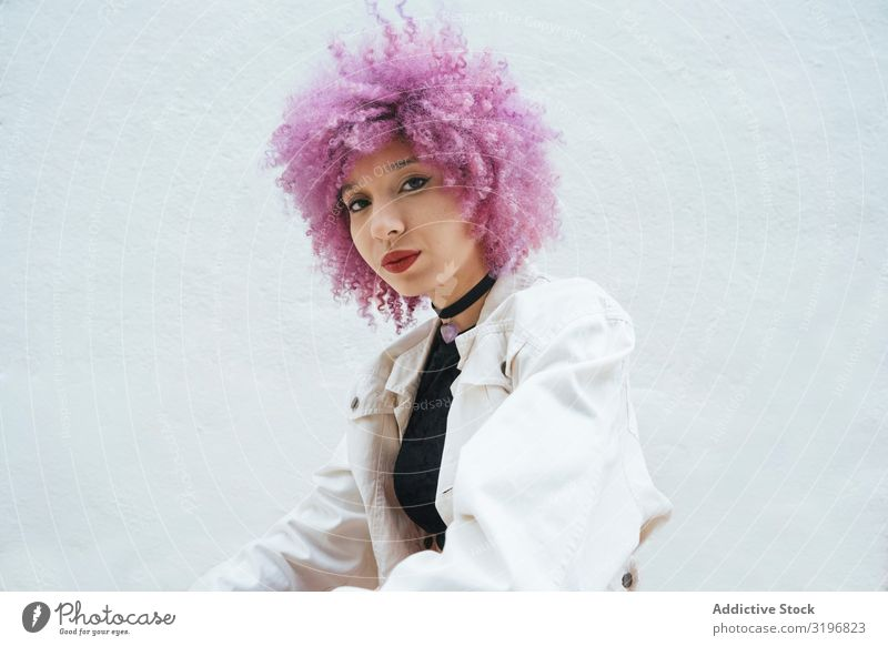 Stylish woman with pink hair looking at camera Woman Attractive Hip & trendy Style Fashion Model Self-confident Youth (Young adults) Expression Freedom