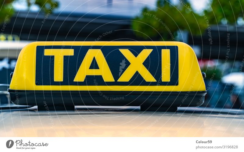 Taxi sign Business Taxi rank Downtown Passenger traffic Road traffic Motoring Car Vacation & Travel Yellow Black City Europe Germany Information taxi sign