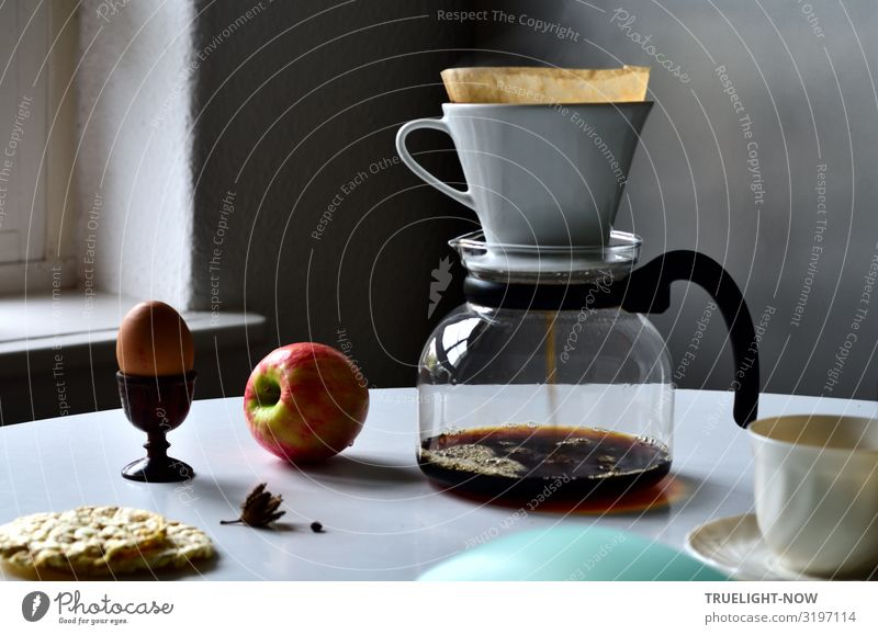 Glass coffeepot, white porcelain filter, light brown filter paper and dark brown continuous bubble forming coffee, apple, egg in wooden egg cup, white cup, corn waffles, white table in front of grey wall in the morning light.