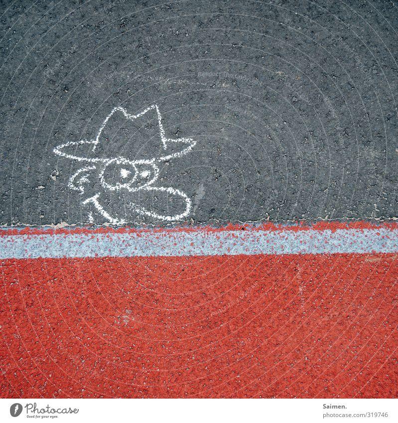 hallöööööööchen Man Adults Head Street Fashion Hat Looking Curiosity Painted Painting (action, artwork) Comic Comic strip character Pavement Asphalt Line
