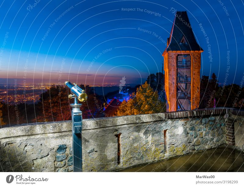 Frankstein's view Vacation & Travel Sightseeing Binoculars Night sky Horizon Castle Tower Wall (barrier) Wall (building) Blue Orange Watchfulness Far-off places
