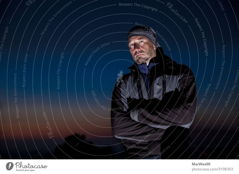 The dark side of me Human being Masculine Man Adults 1 30 - 45 years Night sky Jacket Headscarf Threat Cool (slang) Dark Sharp-edged Cold Rebellious Blue Black